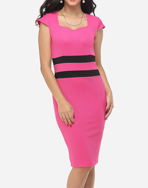 photo Color Block Split Striped Modern Sweet Heart Bodycon Dress by FashionMia, color Peach - Image 1