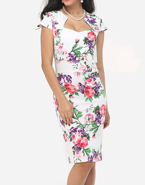photo Floral Printed Delightful Sweet Heart Bodycon Dress by FashionMia, color White - Image 2