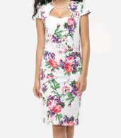 photo Floral Printed Delightful Sweet Heart Bodycon Dress by FashionMia, color White - Image 1