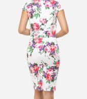 photo Floral Printed Delightful Sweet Heart Bodycon Dress by FashionMia, color White - Image 4