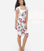 photo Floral Printed Delightful Sweet Heart Bodycon Dress by FashionMia, color White - Image 5