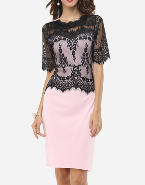photo Lace Patchwork Captivating Band Collar Bodycon Dress by FashionMia, color Pink - Image 2