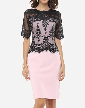 photo Lace Patchwork Captivating Band Collar Bodycon Dress by FashionMia, color Pink - Image 1