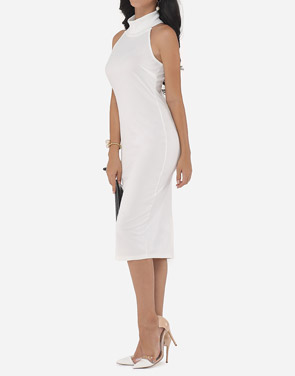 photo Plain Elegant Cowl Neck Bodycon Dress by FashionMia, color White - Image 2