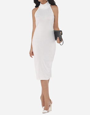 photo Plain Elegant Cowl Neck Bodycon Dress by FashionMia, color White - Image 1