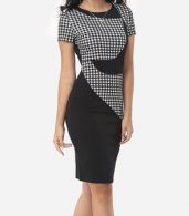 photo Patchwork Plaid Elegant Round Neck Bodycon Dress by FashionMia, color Black - Image 2