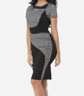 photo Patchwork Plaid Elegant Round Neck Bodycon Dress by FashionMia, color Black - Image 3