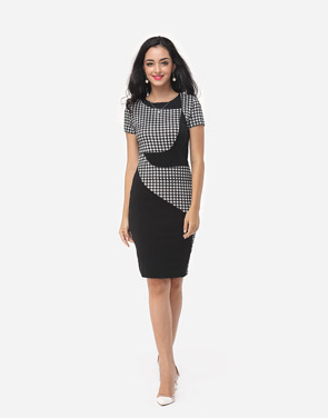 photo Patchwork Plaid Elegant Round Neck Bodycon Dress by FashionMia, color Black - Image 5