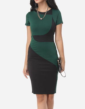 photo Geometric Patchwork Classical Crew Neck Bodycon Dress by FashionMia, color Green - Image 2