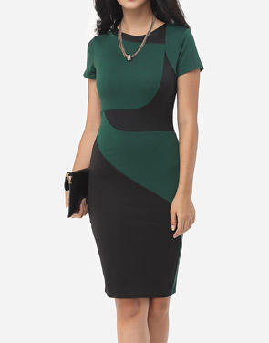 photo Geometric Patchwork Classical Crew Neck Bodycon Dress by FashionMia, color Green - Image 1