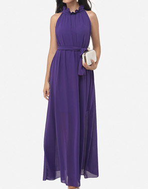 photo Two Way Falbala Dramatic Band Collar Maxi Dress by FashionMia, color Purple - Image 2