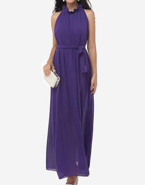 photo Two Way Falbala Dramatic Band Collar Maxi Dress by FashionMia, color Purple - Image 1