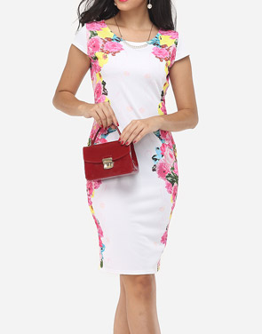 photo Floral Printed Delicate Round Neck Bodycon Dress by FashionMia, color White - Image 2