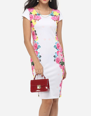 photo Floral Printed Delicate Round Neck Bodycon Dress by FashionMia, color White - Image 1