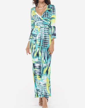 photo Printed Modern V Neck Maxi Dress by FashionMia, color Yellow - Image 2