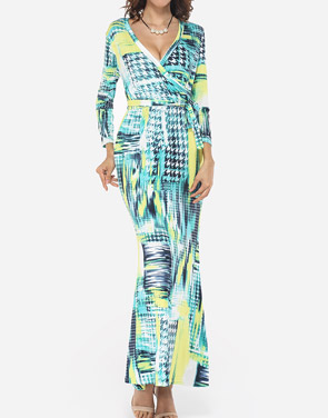photo Printed Modern V Neck Maxi Dress by FashionMia, color Yellow - Image 1
