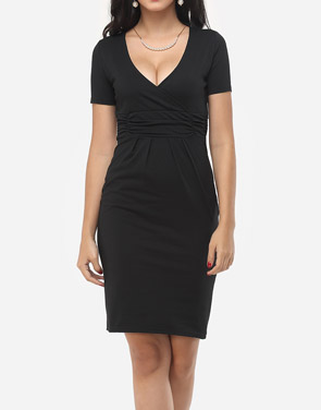 photo Plain Sexy V Neck Bodycon Dress by FashionMia, color Black - Image 2