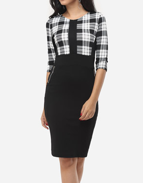 photo Plaid Pockets Zips Celebrity Round Neck Bodycon Dress by FashionMia, color White Black - Image 2