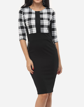 photo Plaid Pockets Zips Celebrity Round Neck Bodycon Dress by FashionMia, color White Black - Image 1