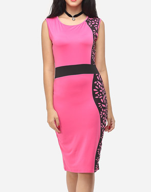 photo Printed Celebrity Round Neck Bodycon Dress by FashionMia, color Rose - Image 2