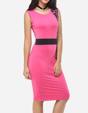 photo Printed Celebrity Round Neck Bodycon Dress by FashionMia, color Rose - Image 3