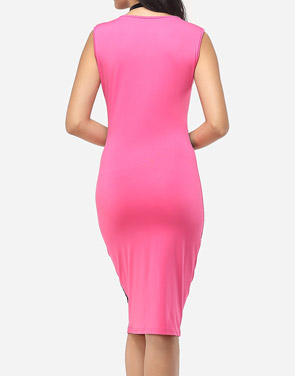 photo Printed Celebrity Round Neck Bodycon Dress by FashionMia, color Rose - Image 4