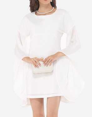 photo Plain Mandarin Sleeve Chic Round Neck Bodycon Dress by FashionMia, color White - Image 2