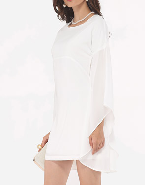 photo Plain Mandarin Sleeve Chic Round Neck Bodycon Dress by FashionMia, color White - Image 3
