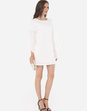 photo Plain Mandarin Sleeve Chic Round Neck Bodycon Dress by FashionMia, color White - Image 5