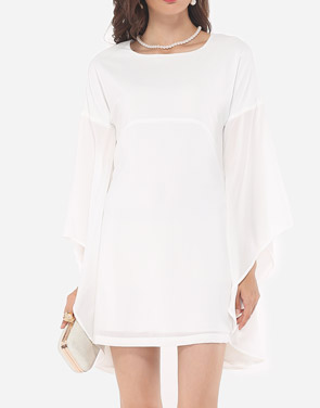 photo Plain Mandarin Sleeve Chic Round Neck Bodycon Dress by FashionMia, color White - Image 1