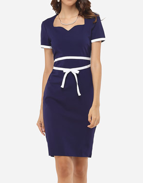 photo Assorted Colors Bowknot Elegant Asymmetric Neckline Bodycon Dress by FashionMia, color Dark Blue - Image 2