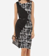 photo Patchwork Plaid Zips Elegant Round Neck Bodycon Dress by FashionMia, color Black - Image 1