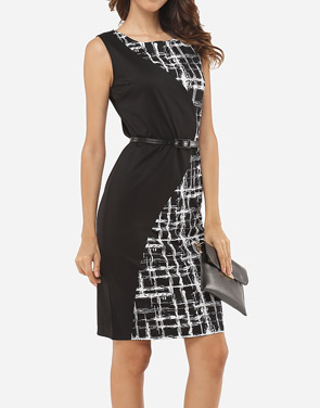 photo Patchwork Plaid Zips Elegant Round Neck Bodycon Dress by FashionMia, color Black - Image 3