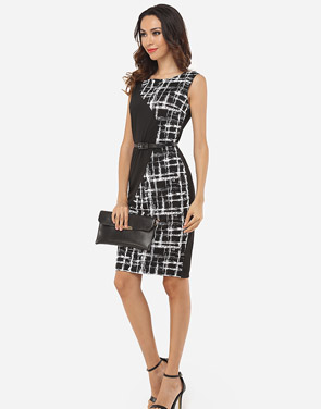 photo Patchwork Plaid Zips Elegant Round Neck Bodycon Dress by FashionMia, color Black - Image 5