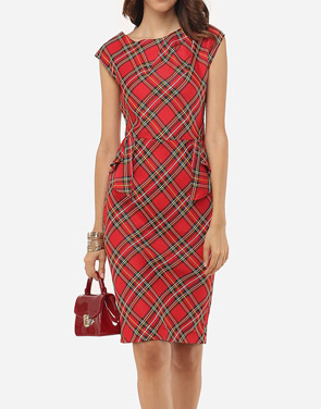 photo Plaid Printed Zips Elegant Round Neck Bodycon Dress by FashionMia, color Red - Image 2