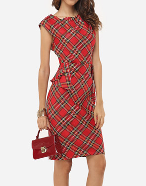 photo Plaid Printed Zips Elegant Round Neck Bodycon Dress by FashionMia, color Red - Image 4