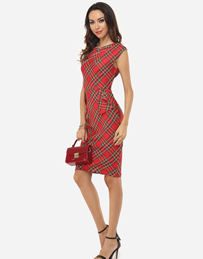 photo Plaid Printed Zips Elegant Round Neck Bodycon Dress by FashionMia, color Red - Image 6