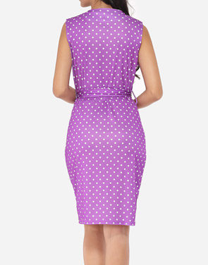 Polka Dot Captivating Crew Neck Bodycon Dress Purple