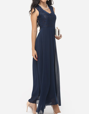 photo Hollow Out Lace Patchwork Plain Zips Elegant Stylish V Neck Maxi Dress by FashionMia, color Blue - Image 2