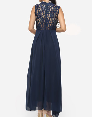 photo Hollow Out Lace Patchwork Plain Zips Elegant Stylish V Neck Maxi Dress by FashionMia, color Blue - Image 5