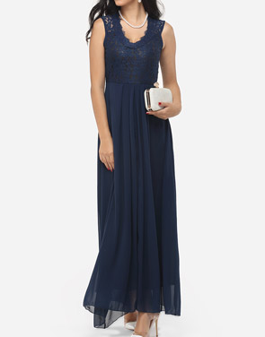 photo Hollow Out Lace Patchwork Plain Zips Elegant Stylish V Neck Maxi Dress by FashionMia, color Blue - Image 1