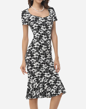 photo Assorted Colors Floral Printed Zips Elegant Asymmetric Neckline Bodycon Dress by FashionMia, color White Black - Image 3