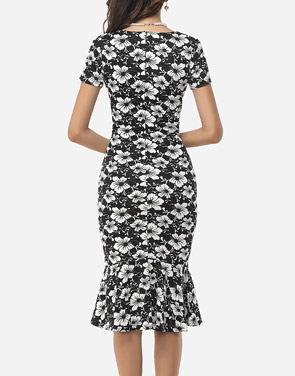 photo Assorted Colors Floral Printed Zips Elegant Asymmetric Neckline Bodycon Dress by FashionMia, color White Black - Image 4