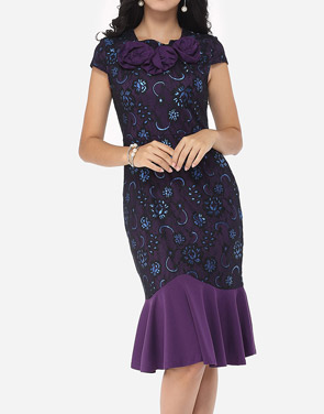 photo Floral Lace Printed Mermaid Elegant Round Neck Bodycon Dress by FashionMia, color Purple - Image 2
