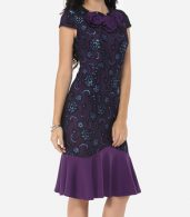 photo Floral Lace Printed Mermaid Elegant Round Neck Bodycon Dress by FashionMia, color Purple - Image 3