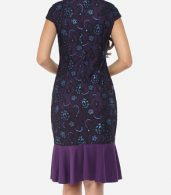 photo Floral Lace Printed Mermaid Elegant Round Neck Bodycon Dress by FashionMia, color Purple - Image 4