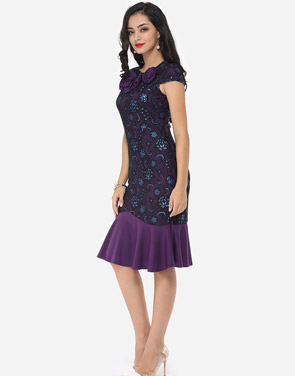 photo Floral Lace Printed Mermaid Elegant Round Neck Bodycon Dress by FashionMia, color Purple - Image 5