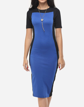 photo Color Block Charming Round Neck Bodycon Dress by FashionMia, color Blue - Image 2