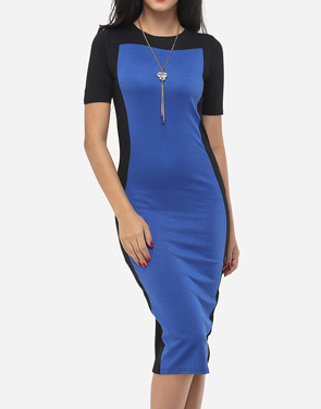 photo Color Block Charming Round Neck Bodycon Dress by FashionMia, color Blue - Image 1