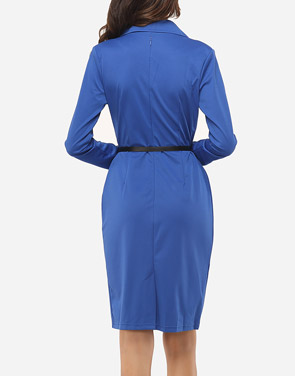 photo Plain Elegant Courtly V Neck Bodycon Dress by FashionMia, color Blue - Image 4